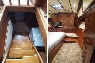 Переход к каютам для отдыха на моторной яхте Одиссея