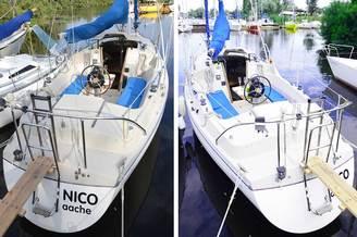 Кормовая часть с трапом парусной яхты Нико