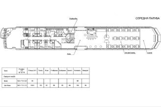 Схема теплохода Lux лайнер - средняя палуба
